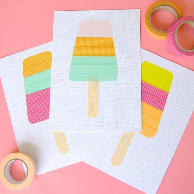 DIY washi tape popsicle card (via www.omiyageblogs.ca)
