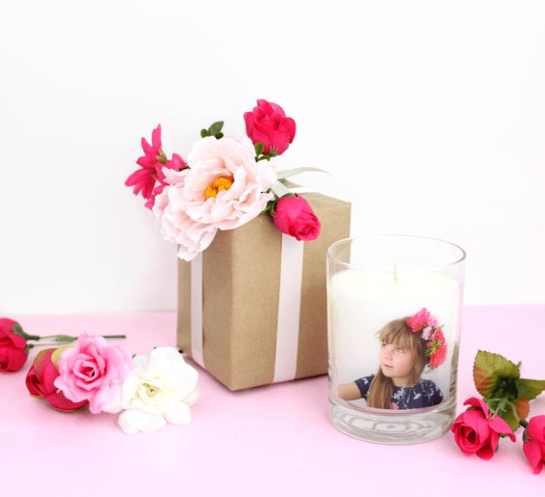 DIY faux flower gift topper (via www.linesacross.com)