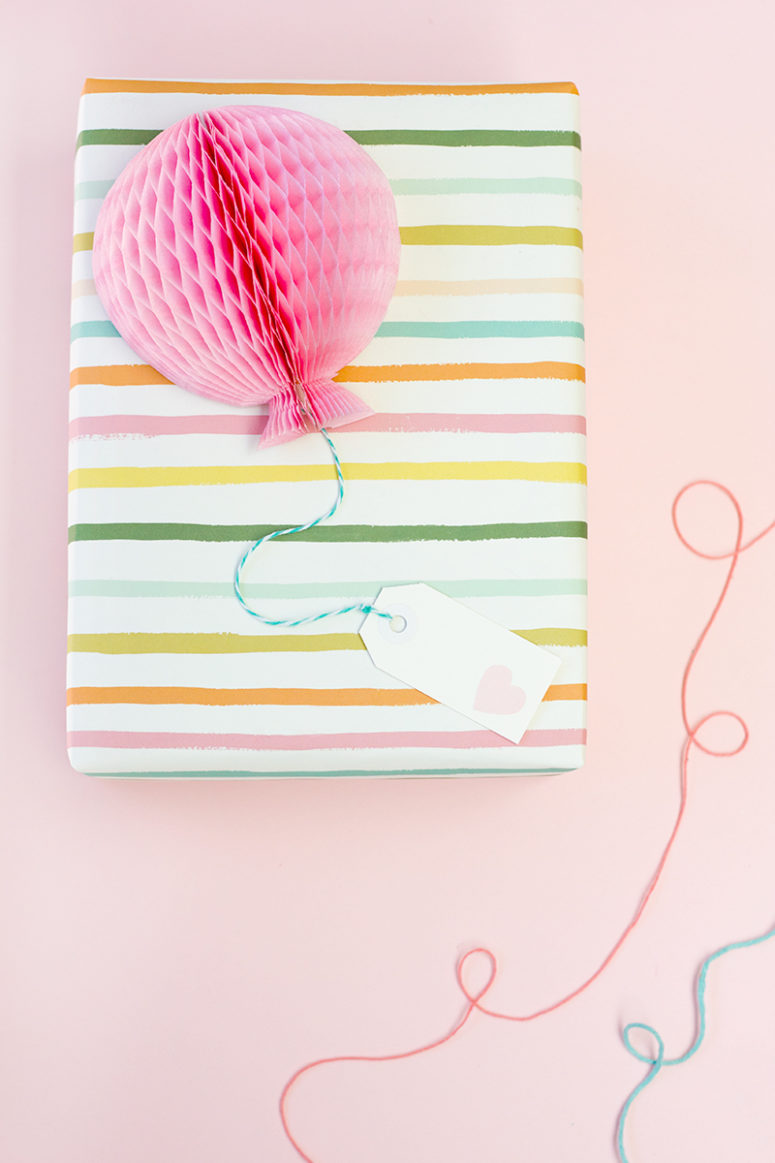 DIY honeycomb balloon gift toppers (via https:)