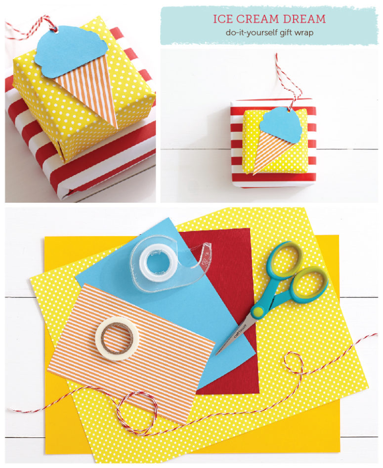 DIY ice cream wrap idea with a topper (via beautyandbedlam.com)