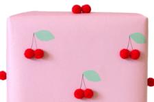 DIY cherry gift wrap