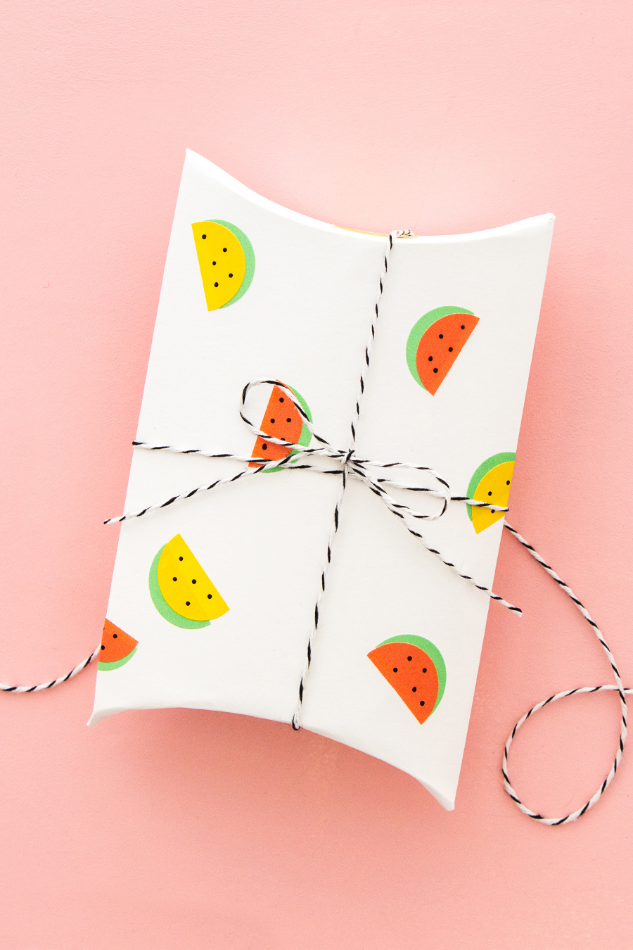 DIY gift wraps with watermelon stickers