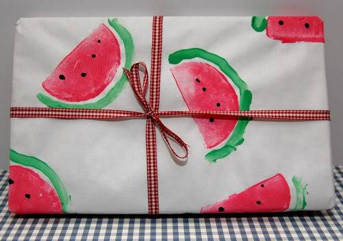 DIY watermelon wrapping paper made by kids (via innerchildfun.com)