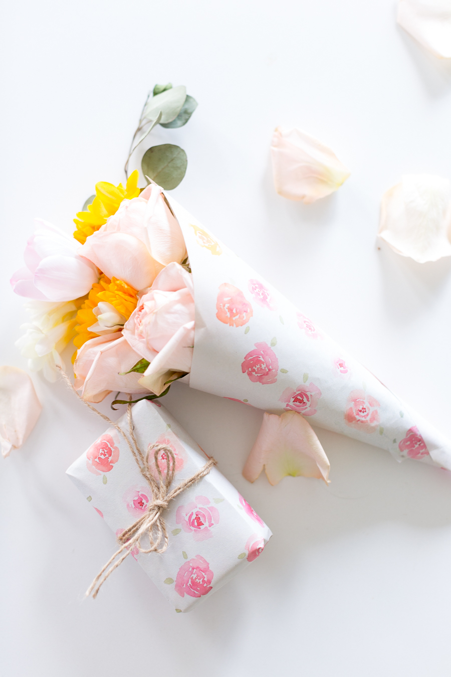 DIY watercolor rose wrapping paper