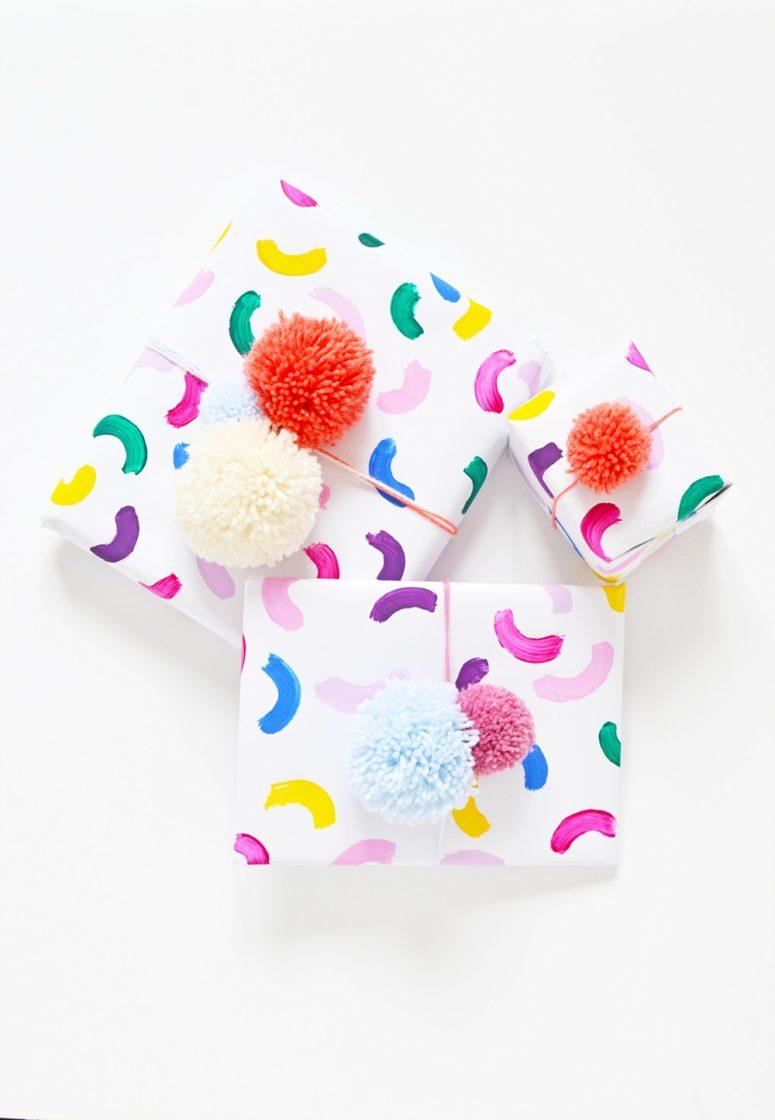 DIY colorful abstract gift wrap (via enthrallinggumption.com)
