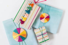 DIY embroidery floss gift wrap