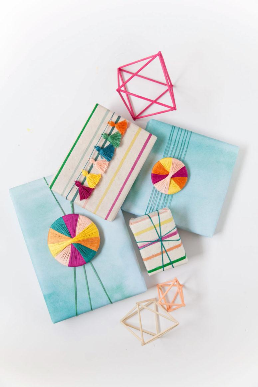 DIY embroidery floss gift wrap (via tellloveandparty.com)