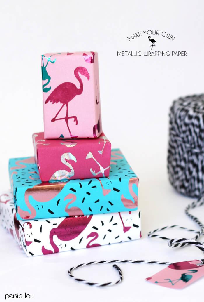 DIY metallic flamingo wrapping paper (via persialou.com)