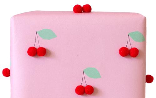 DIY cherry gift wrap (via www.llk-c.com)