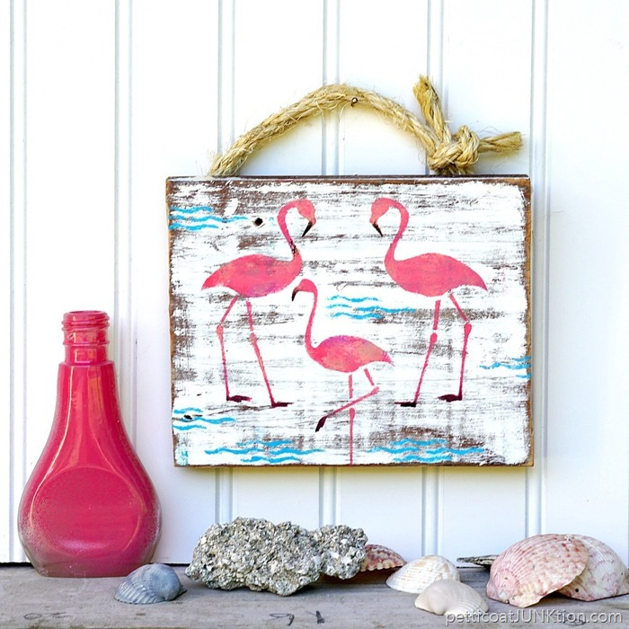 DIY pink flamingo junk sign
