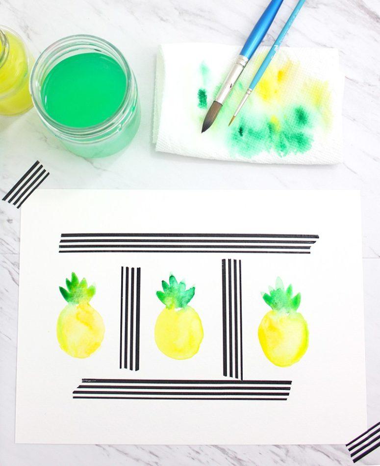 DIY watercolor pineapple art (via www.linesacross.com)