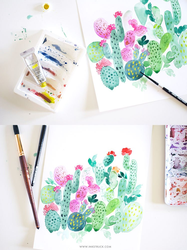 DIY watercolor cactus painting (via www.inkstruck.com)