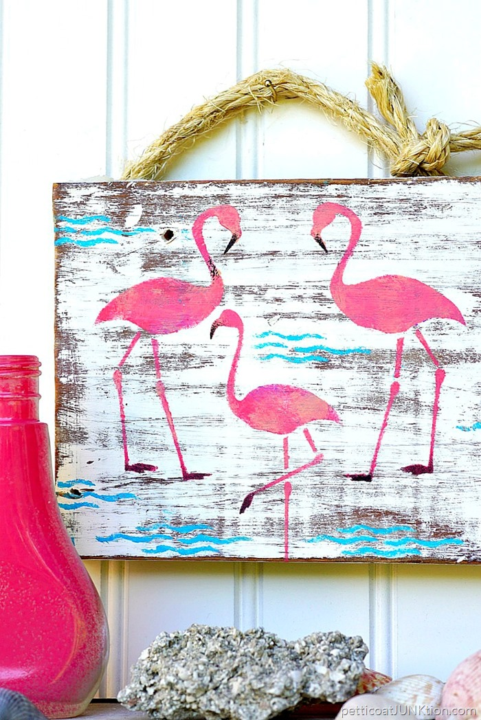 DIY pink flamingo junk sign (via petticoatjunktion.com)