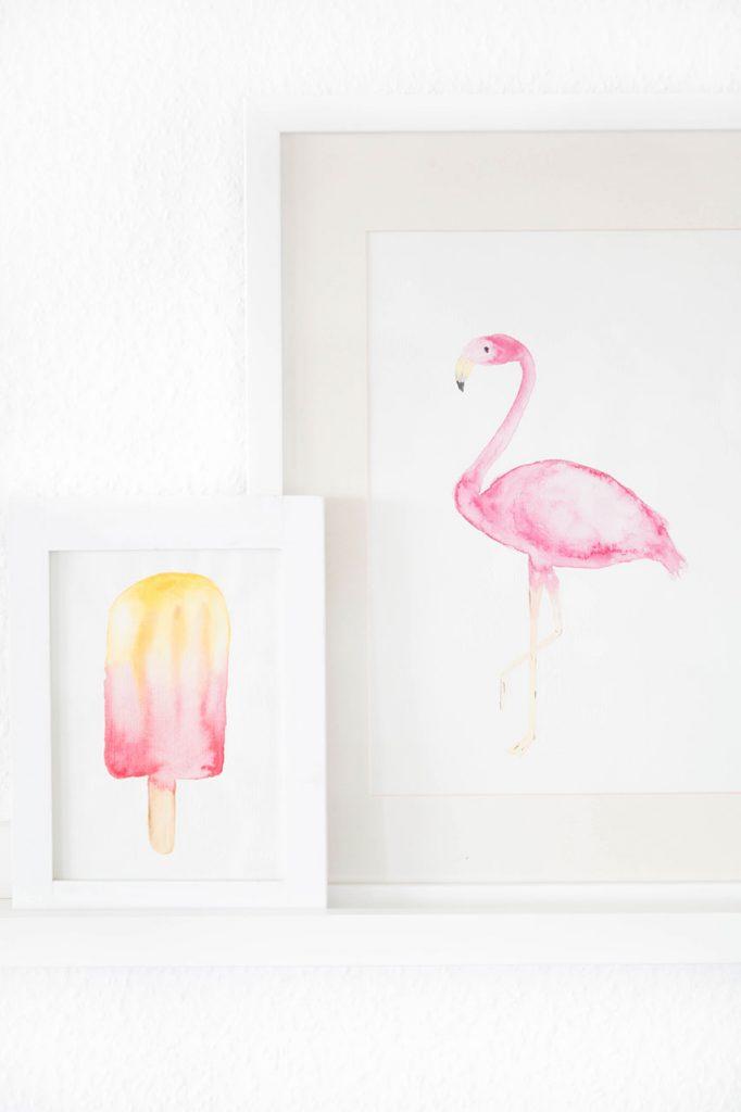 DIY printable watercolor flamingo art piece (via www.arstextura.de)