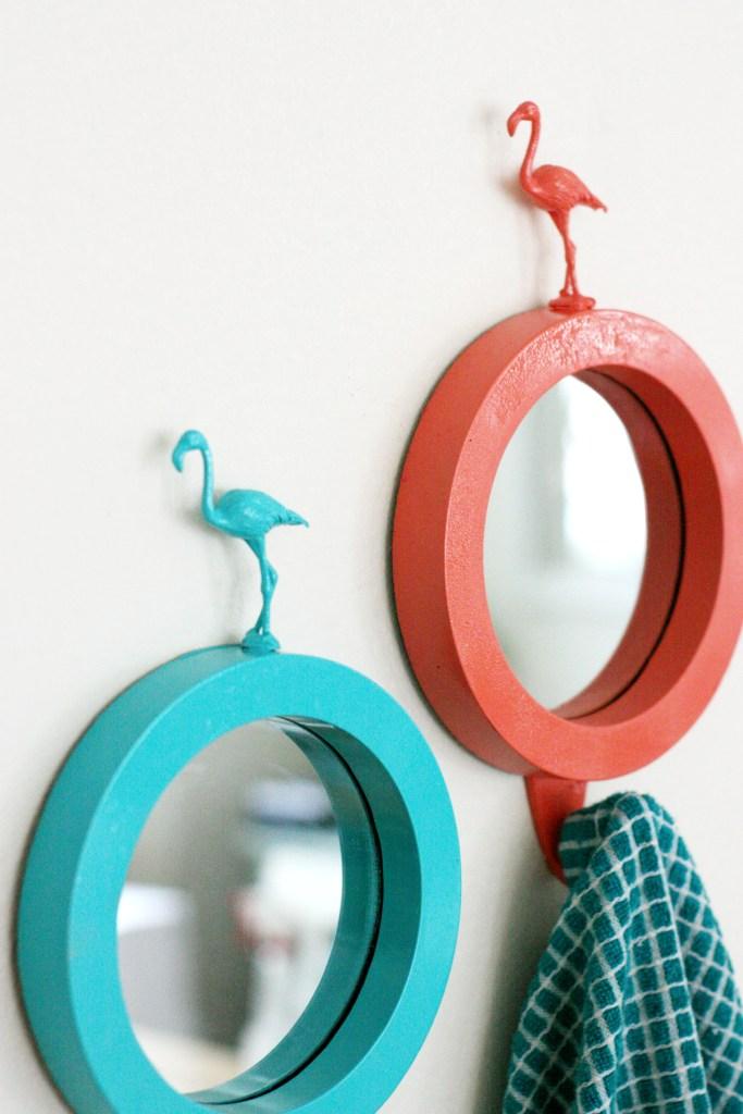 colorful DIY flamingo mirrors (via prettylifegirls.com)