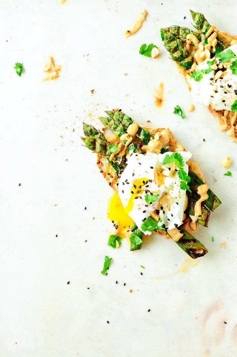 DIY asparagus crostini with eggs and peanut sauce (via www.servingdumplings.com)