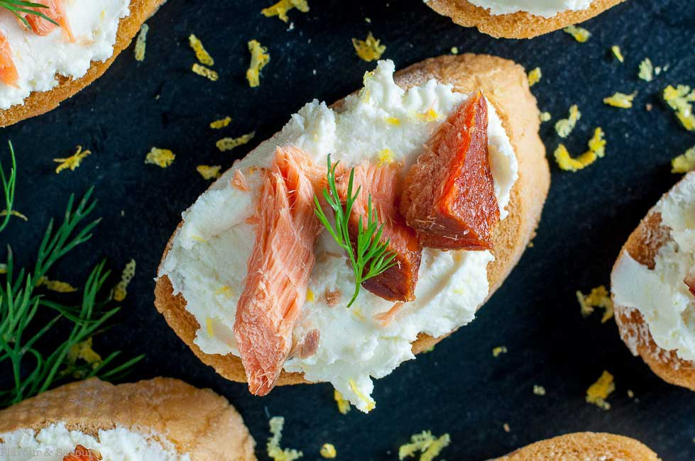 DIY smoked salmon crostini with whipped goat cheese