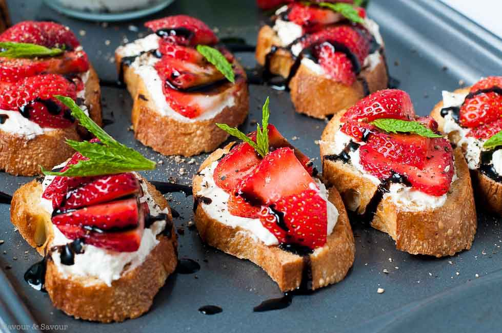 DIY strawberry whipped feta crostini