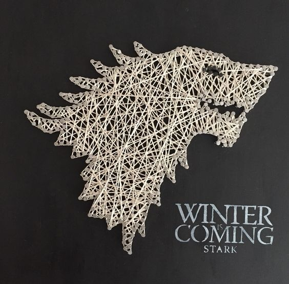 DIY string art inspired by Game of Thrones, white on a black canvas