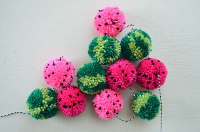 a watermelon pompom garland will make your space really summery