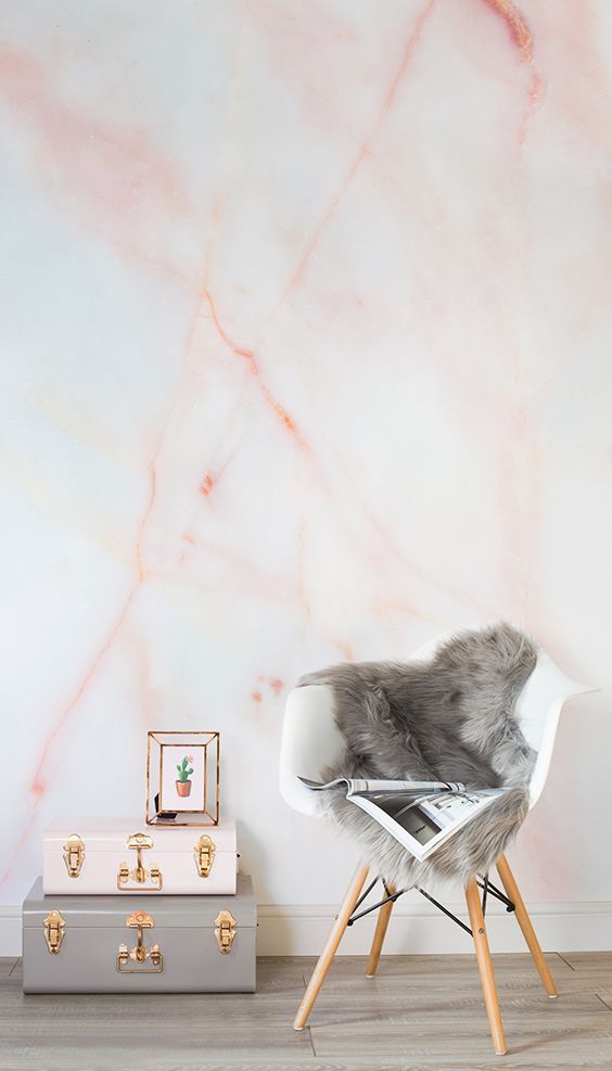 coral marble wall mural is a great idea to make a plain wall stunning and trendy