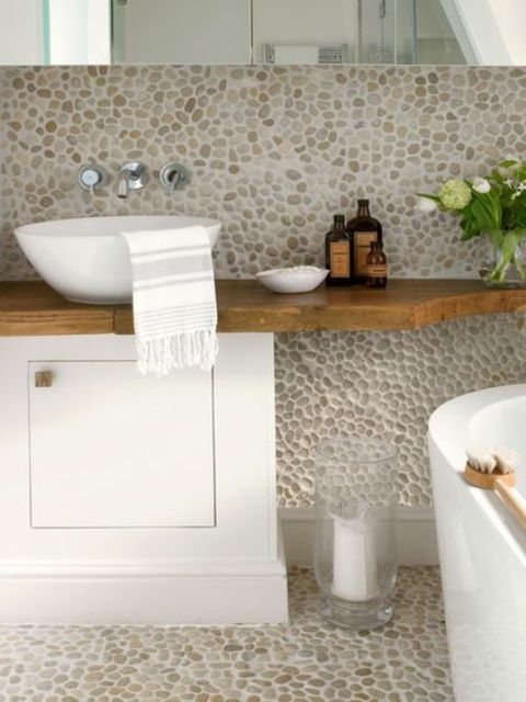 How To Use River Pebbles For Home Decor: 15 Ideas - Shelterness Usually Pebble Tiles Bathroom Designs on pebble mosaic tile bathroom, marble bathroom designs, pebble flooring for bathroom, bathroom bathroom designs, pebble tile flooring, home bathroom designs, pebble rock bathroom ideas, pebble tile backsplash, pebble tile art, pebble tile bath, pebble tile bathroom remodeling ideas, pebble tile fireplaces, stone bathroom designs, pebble tile kitchen, stainless steel bathroom designs, slate bathroom designs, pebble mosaic medallion tile, pebble bathroom floor tile, pebble tile wallpaper, pebble tile shower,