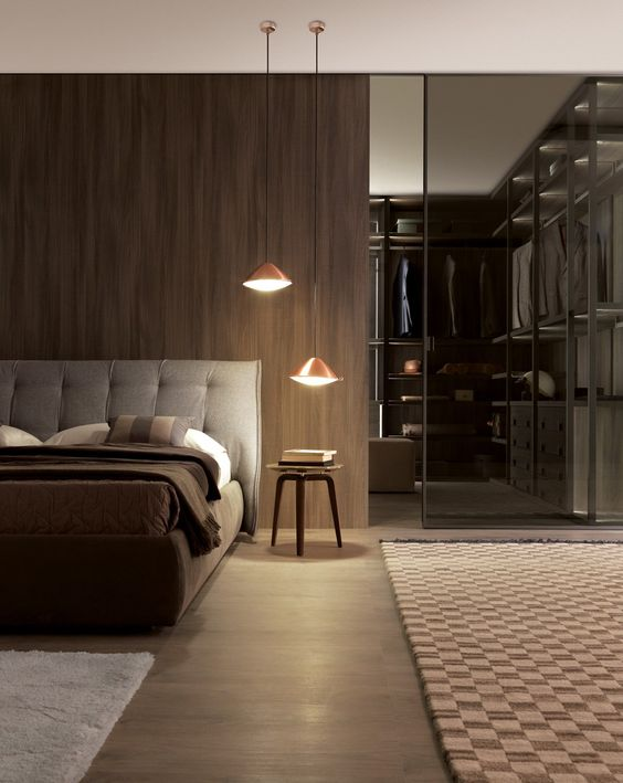 a masculine bedroom with a walk-in closet with a smoked glass wall partition to subtly divide the space