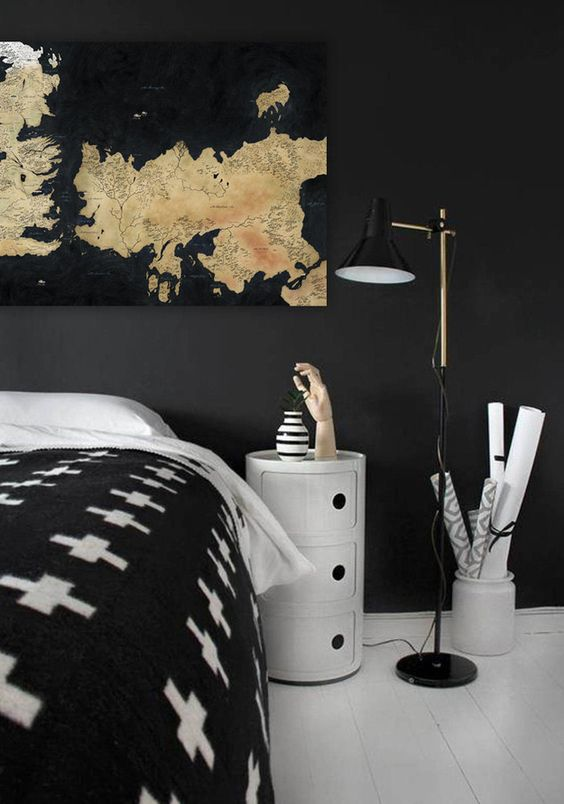 amazing G.O.T. map wall art for a monochromatic bedroom