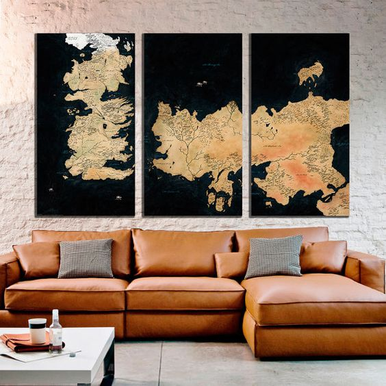 a large canvas print G.O.T. map for a cozy living room
