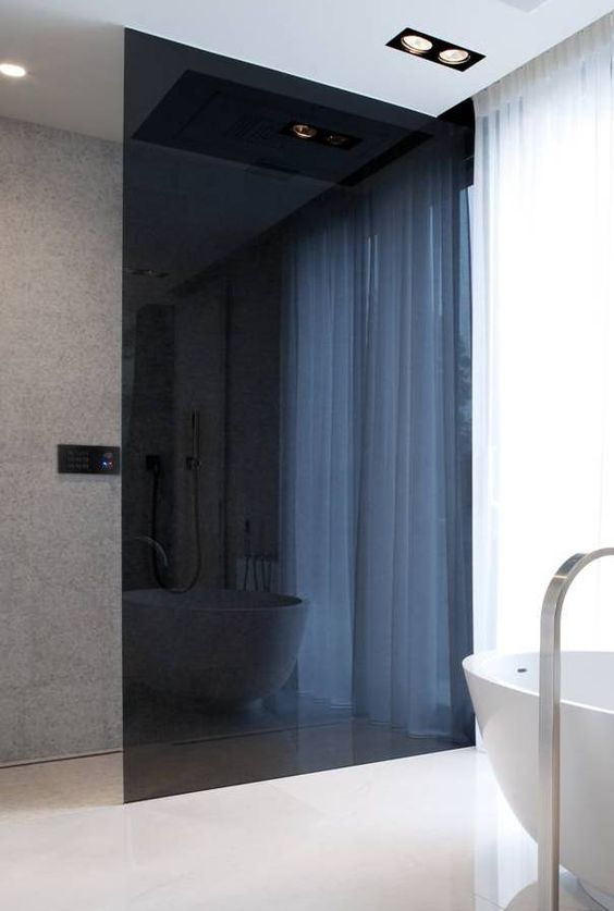 a minimalist bathroom with a smoked glass shower to separate the space