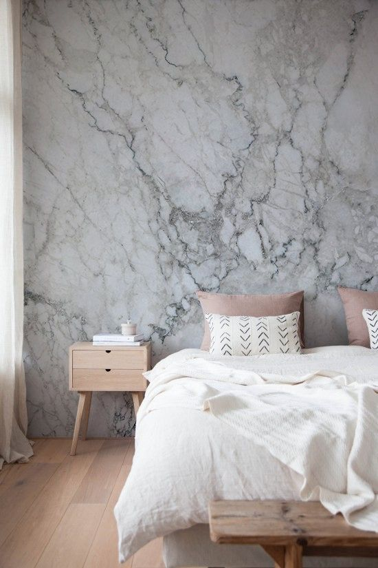 17 inexpensive ways to add marble to home d cor shelterness for Wood wallpaper bedroom