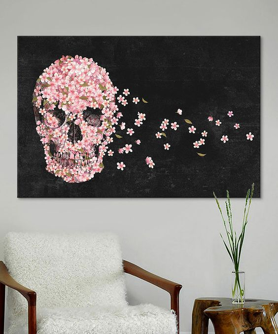 cherry blossom skull wall art for a glam or girlish space