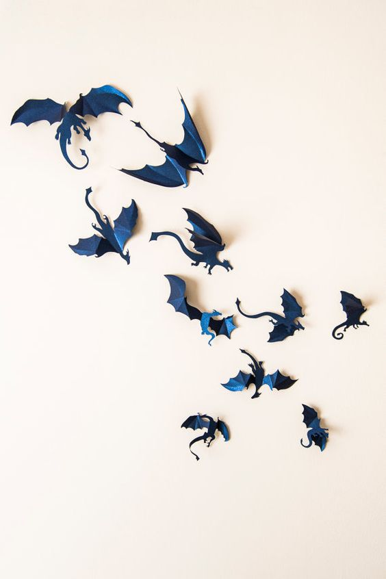 3D navy dragon wall decoration inspired by mythical animals