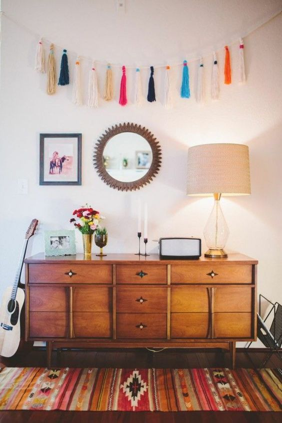 a long tassel garland for a mid century modern interior