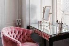 05 a pink stuffed velvet chair is a great piece for your beauty nook, it will add a glam feel