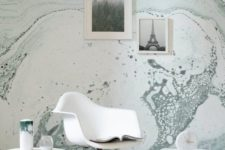 05 grey splashes marble wallpaper for a modern or mid-century modern space