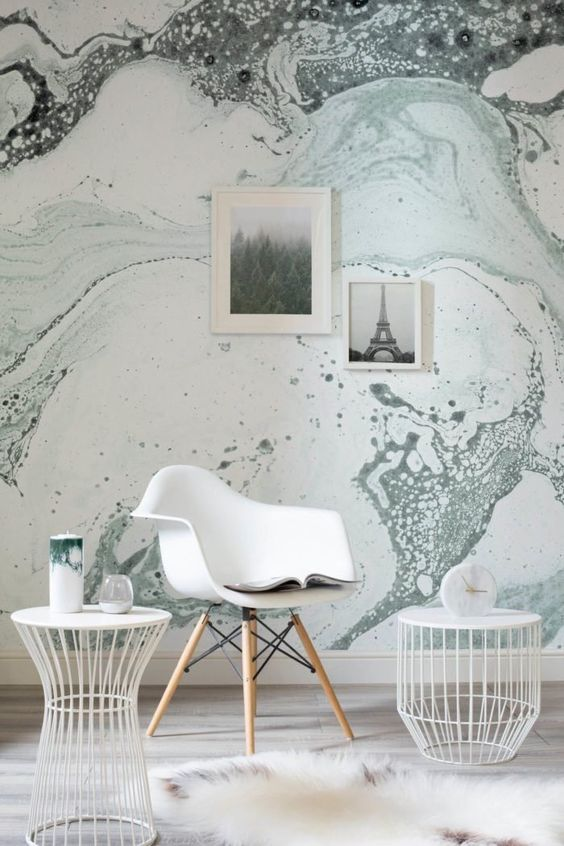 grey splashes marble wallpaper for a modern or mid-century modern space