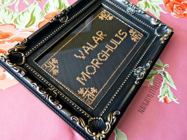 Valar Morghulis embroidery in a refined frame will enliven any wall