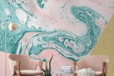 06 green and pink marble wallpaper for a bold space – who said that marble should be neutral