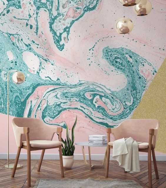 green and pink marble wallpaper for a bold space - who said that marble should be neutral