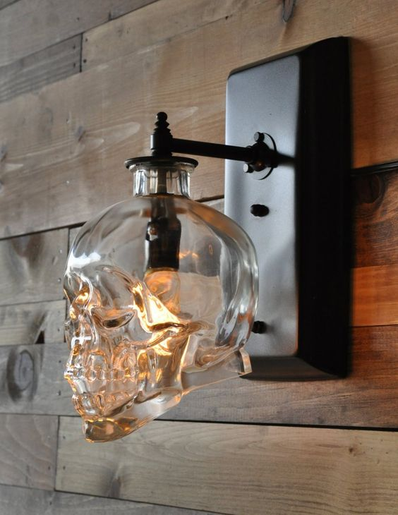 An Industrial Wall Pendant Lamp Shaped As A Skull Looks Unusual