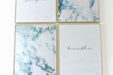07 teal marble and quote prints in frames are a simple and beautiful wall decor idea