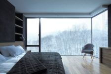 07 two glass walls offer amazing forest views, which perfectly complement this laconic masculine bedroom