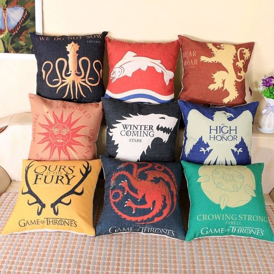 Game of Thrones pillows with different quotes and mottos