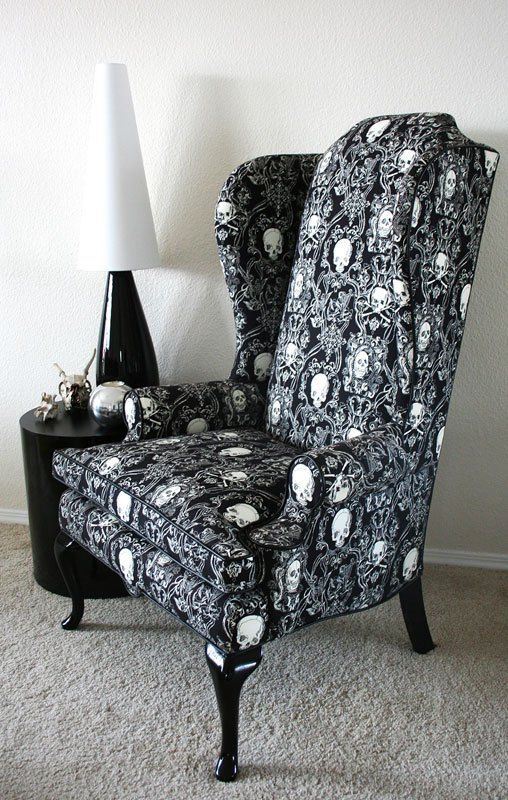 black and white skull upholstery to make a comfy traditional chair unique