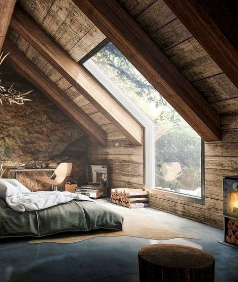 A Small Cozy Rustic Bedroom With A Large Skylight To Enjoy The Views And  Stars