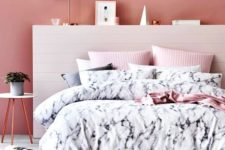 09 black and white marble bedding with pink parts for a cute feminine sleeping space