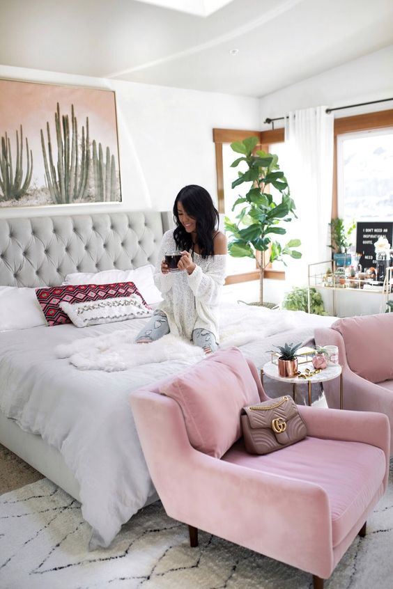 pink velvet chairs to add a girlish feel to your bedroom