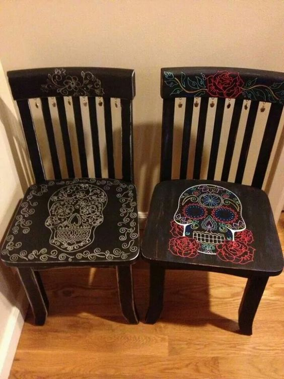 sugar skull chairs for Cinco de Mayo and not only