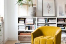 10 a yellow velvet chair is great to add a colorful touch to any space